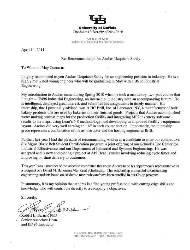 letter of recommendation to academic program