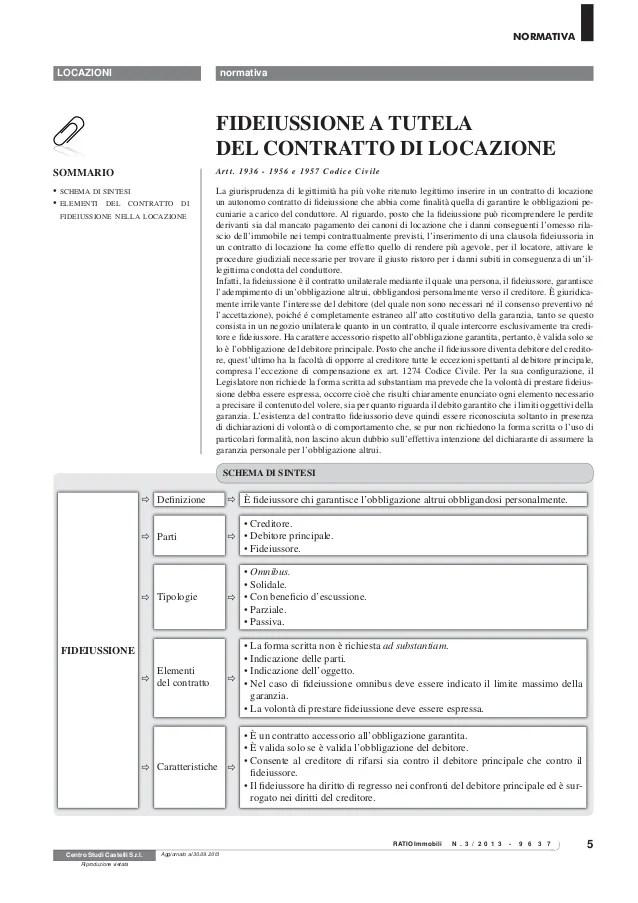 Schema Contratto Di Locazione Con Garanzia Fidejussoria