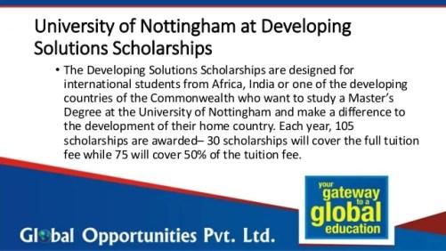 University of Nottingham Scholarships