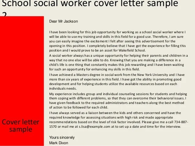 Best Social Services Cover Letter Examples Livecareer Sample