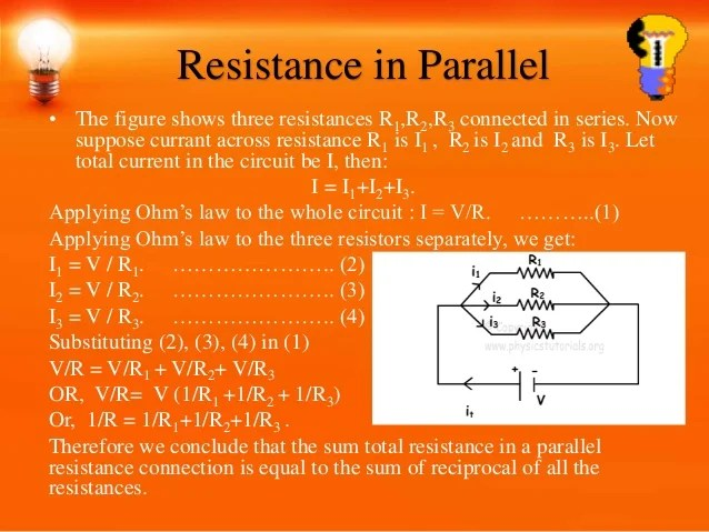 Law Of Combination Of Resistors In Parallel Electricity Science Help
