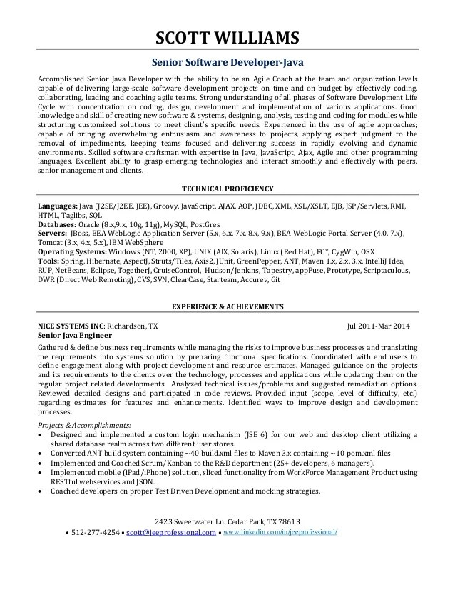 Java Senior Software Engineer Resume Sample | Designmore