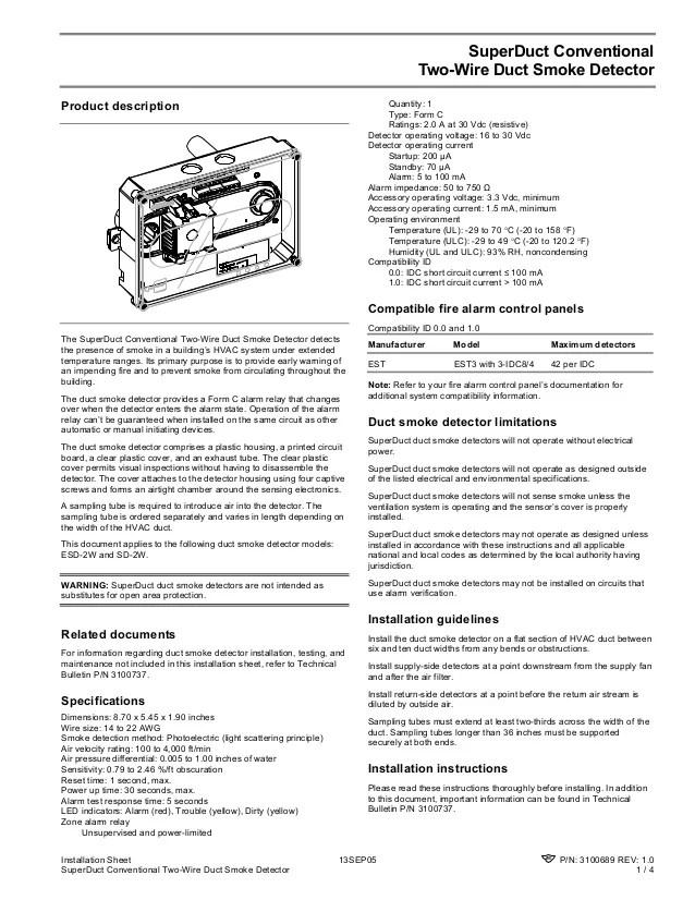 est 3 smoke detector wiring diagram 2002 gmc sierra radio edwards signaling sd2w installation manual