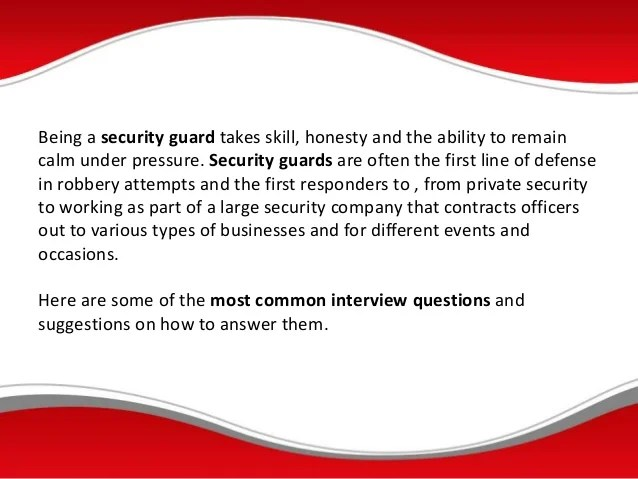 Private Security Interview Questions