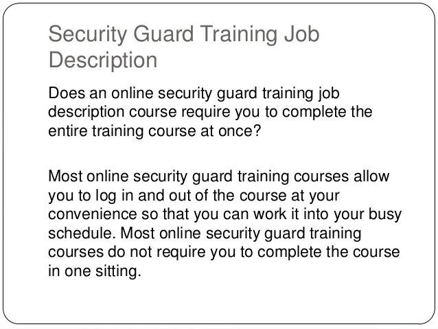 Security Guard 16 Hour Job Training