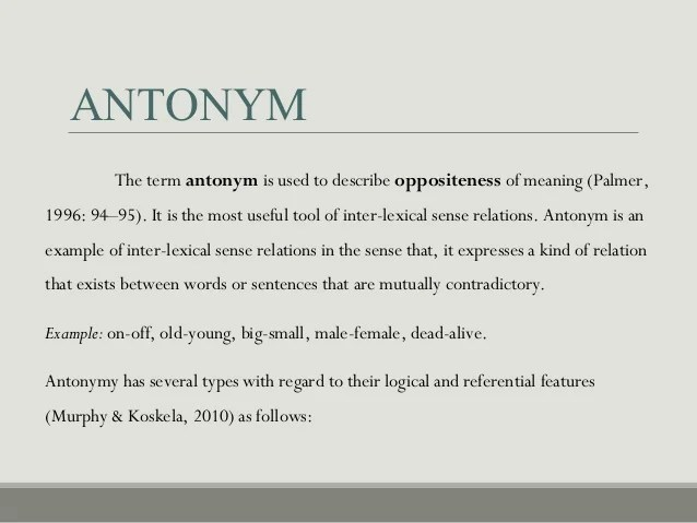 Semantic Relation Among Words