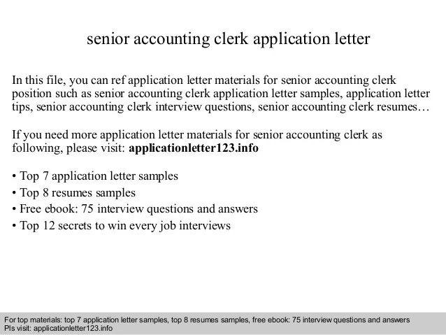 Senior Accounting Clerk Application Letter