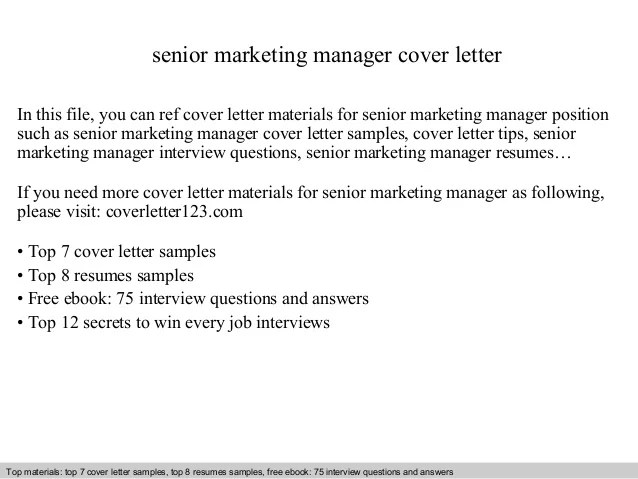 Senior marketing manager cover letter