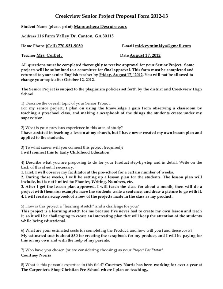 Senior Project Proposal Form