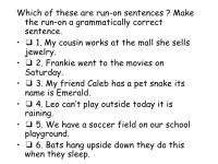 Sentence Fragments And Run Ons