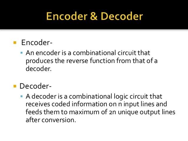 Decoder And Encoder Logic Circuit