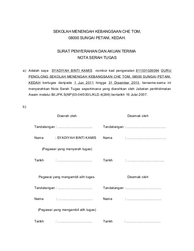 Contoh Surat Serah Tugas Surat W Cuitan Dokter