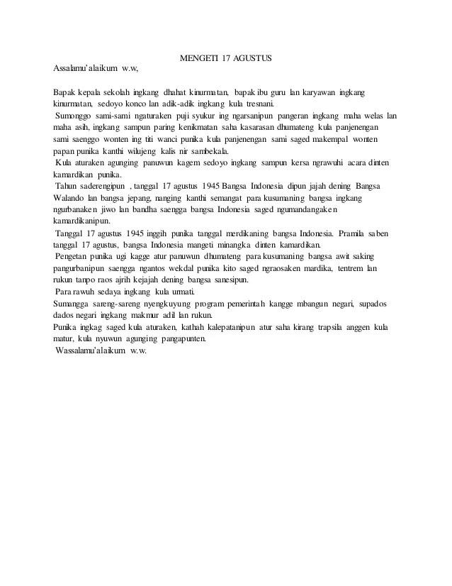 Sesorah Bahasa Jawa : sesorah, bahasa, Sesorah, (pengetan, Kamardikan/, Independence, Every, August)