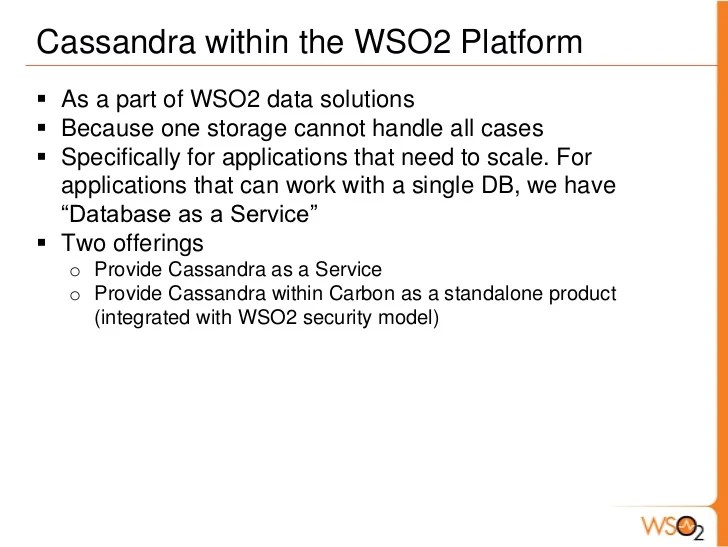 Introduction To Apache Cassandra And Support Within WSO2