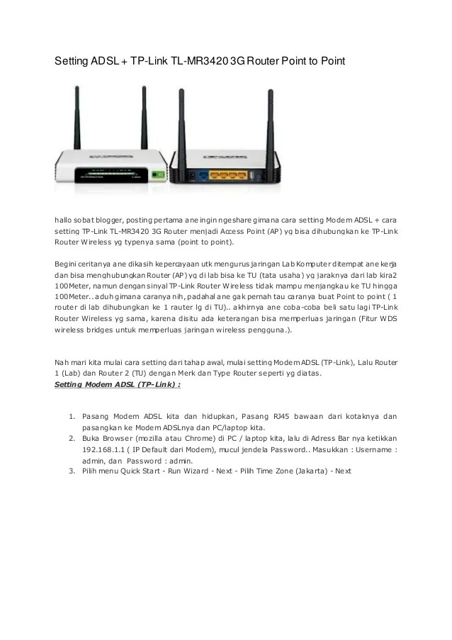 Cara Setting TP-LINK TD-W8961N sebagai Access Point (AP