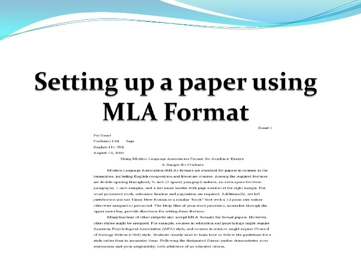 Mla Format In Essay Setting Up A Paper Using Mla Format Mla Format