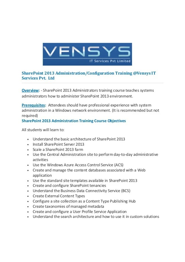 Sharepoint 2013 Administration Training