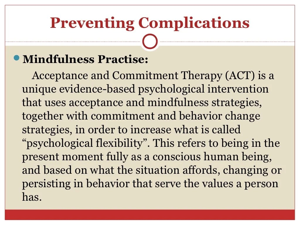 Acceptance And Commitment Therapy And