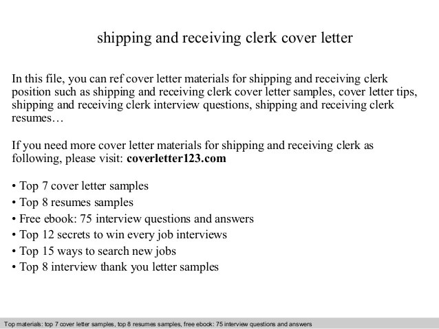 Shipping And Receiving Clerk Cover Letter