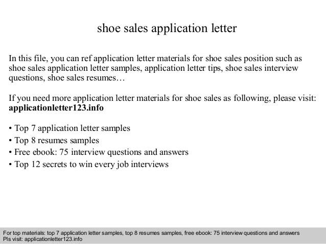 Shoe sales application letter