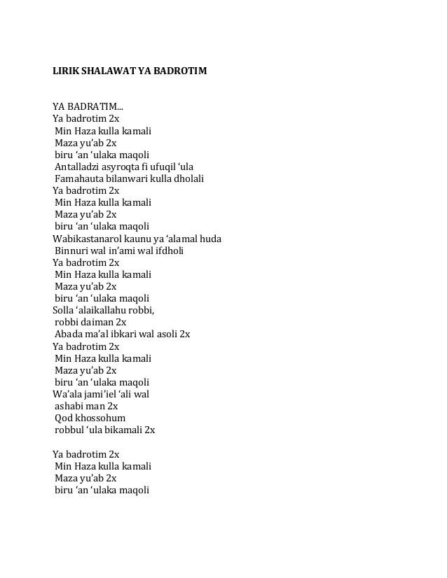 Lirik Ya Badrotim : lirik, badrotim, Sholawat, Khirul, Bariyyah