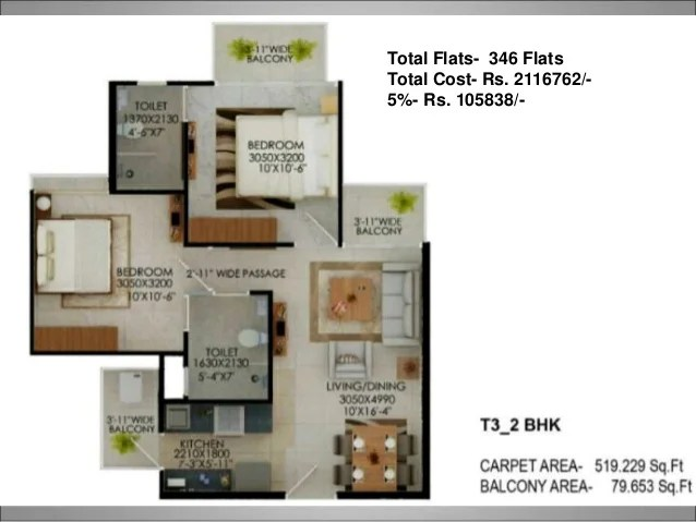 T6 - 2 BHK + Study (MQ) Total Flats- 62 Flats Total Cost- Rs. 2617890/- 5%- Rs. 130894/- Carpert Area 644.51 SQ.FT Balcony...