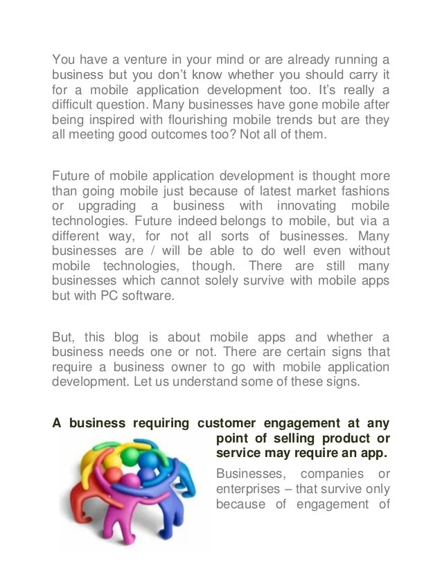 Signs helping a business decide whether it needs a mobile app develop…