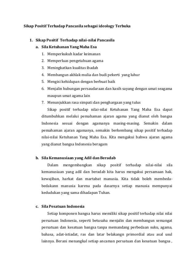 Sikap Positif Terhadap Pancasila : sikap, positif, terhadap, pancasila, Sikap, Positif, Terhadap, Pancasila, Sebagai, Ideology, Terbuka