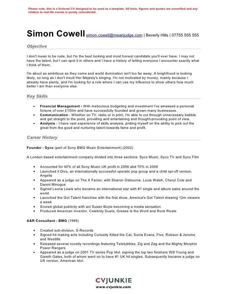 Simon Cowell CV Template