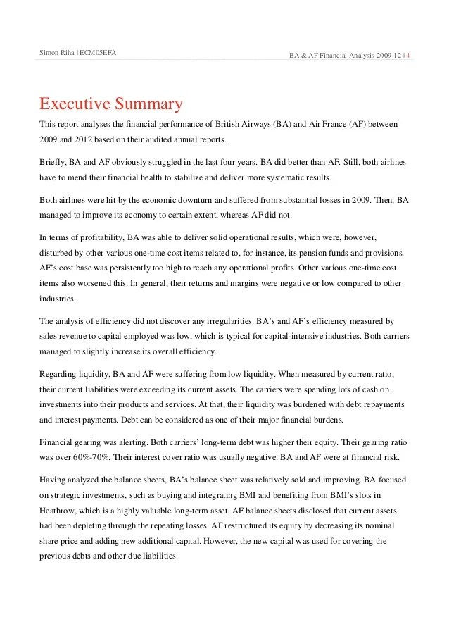Air France & British Airways Comparative Analysis 2009 12