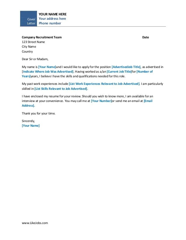 Basic Cover Example Letter Template  Search Results