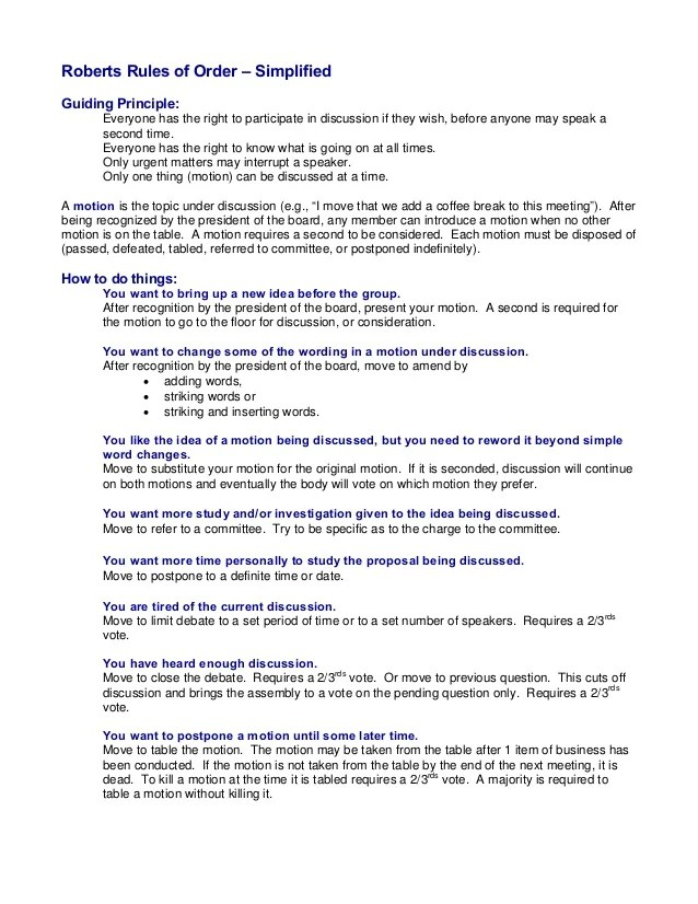 roberts rules of order meeting minutes template with
