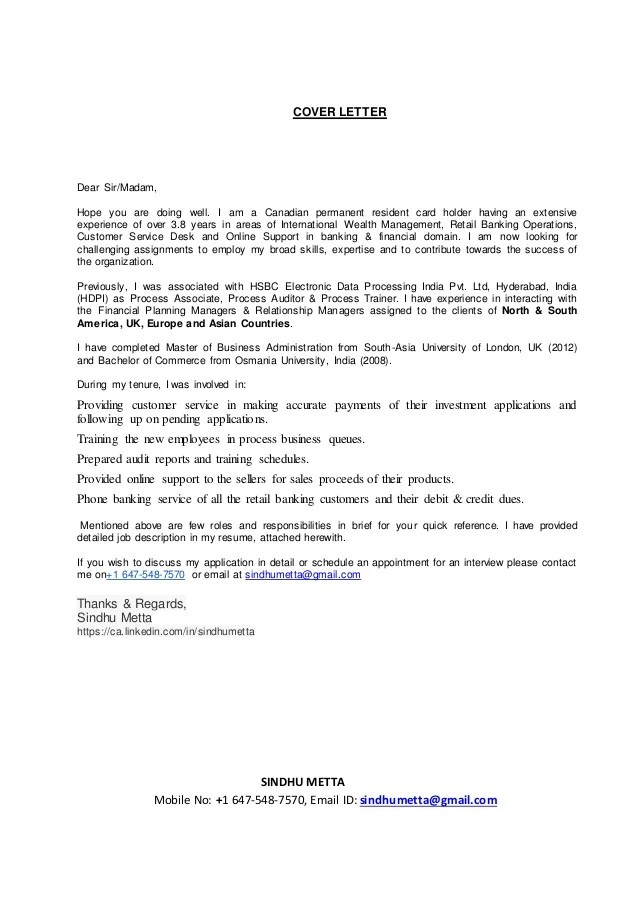 Sindhu metta Cover Letter  Resume
