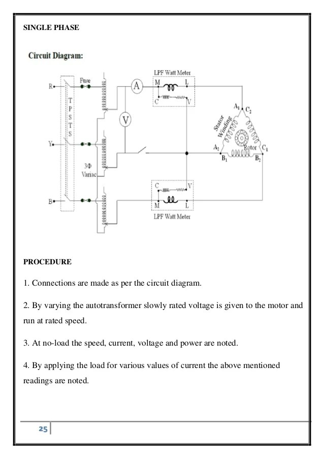 three phase induction motor diagram led tail light wiring single phasing of circuit 25