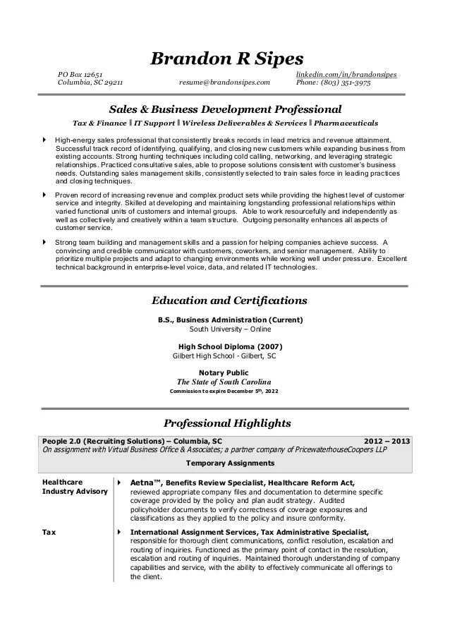 Sipes Brandon Resume
