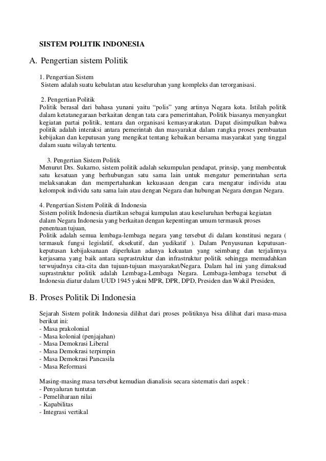 Pengertian Sistem Wilayah : pengertian, sistem, wilayah, Sistem, Politik, Indonesia