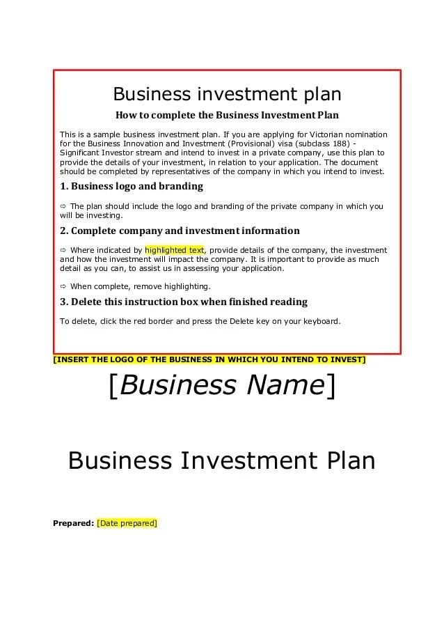 Siv Businessinvestmentplantemplate