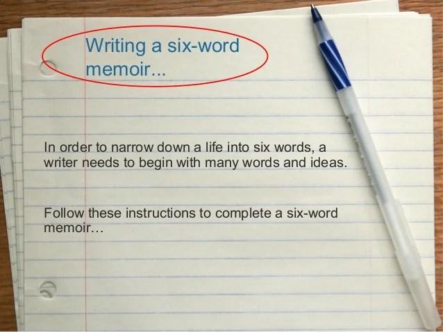 six word memoir assignment