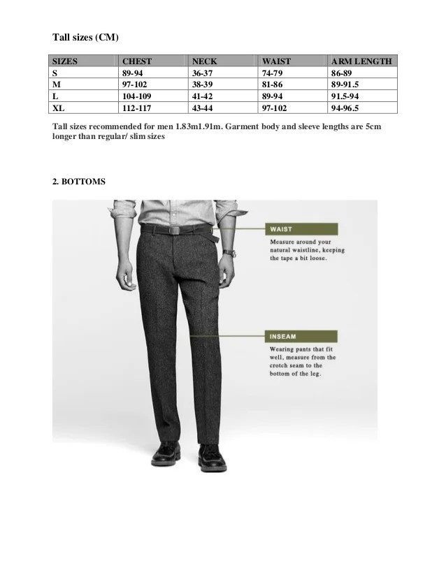tall sizes also size chart  crew rh slideshare