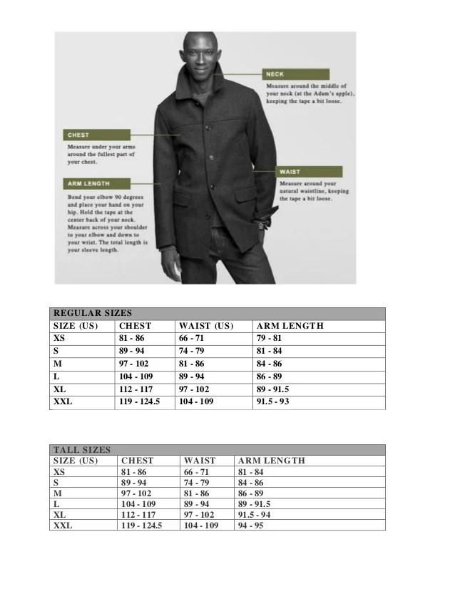 regular sizes also size chart  crew rh slideshare