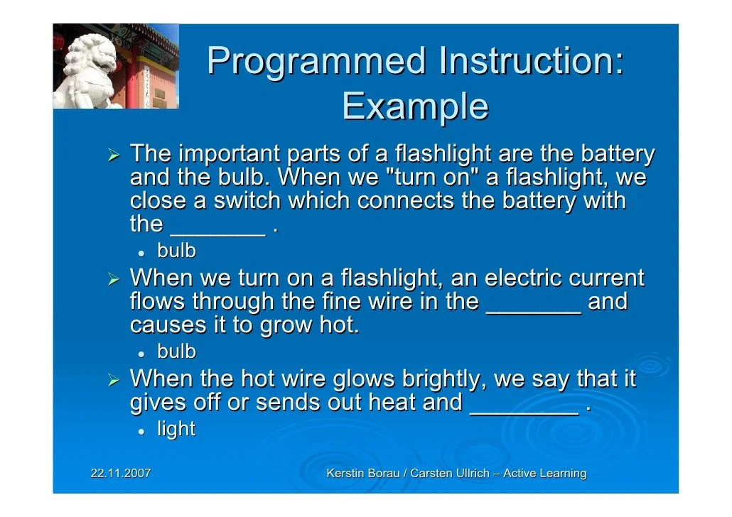 Programmed Instruction Examples