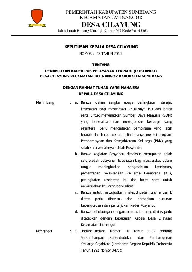 [DISIMPAN] Contoh SK Posyandu Terbaru Dalam Format Ms Word
