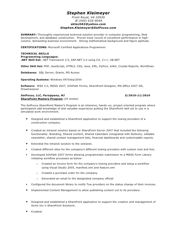 Sharepoint Resume Examples Examples Of Resumes