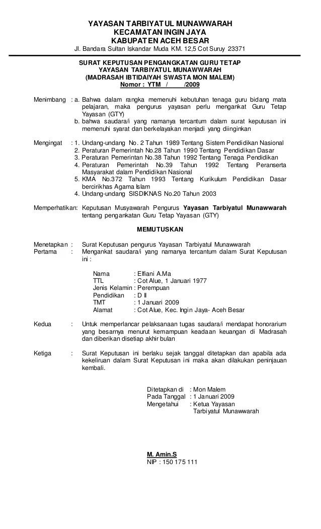 Contoh Sk Guru Tetap Yayasan