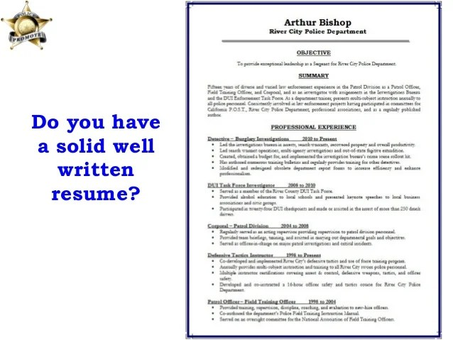 police promotion resume template