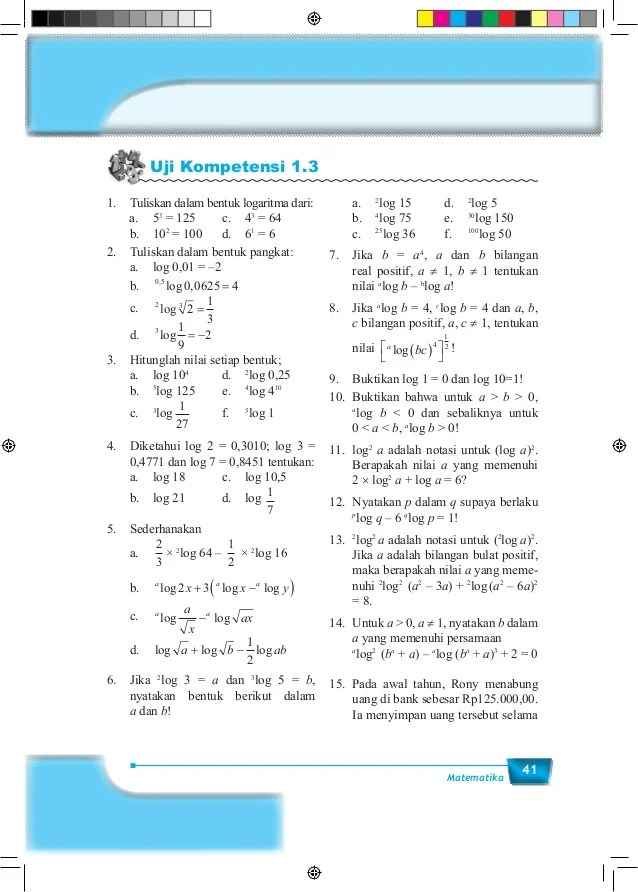 Materi Matematika Kelas 10 Semester 1