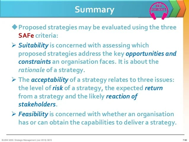 SM Lecture Seven Strategy Evaluation