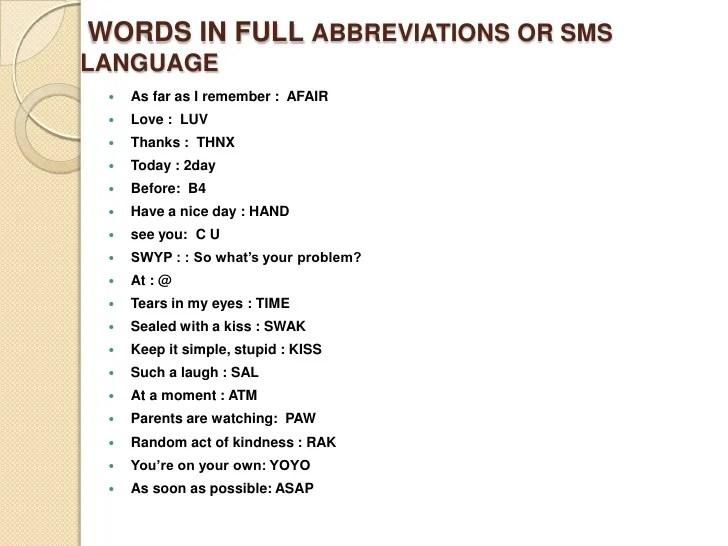 Common Texting Abbreviations And Symbols
