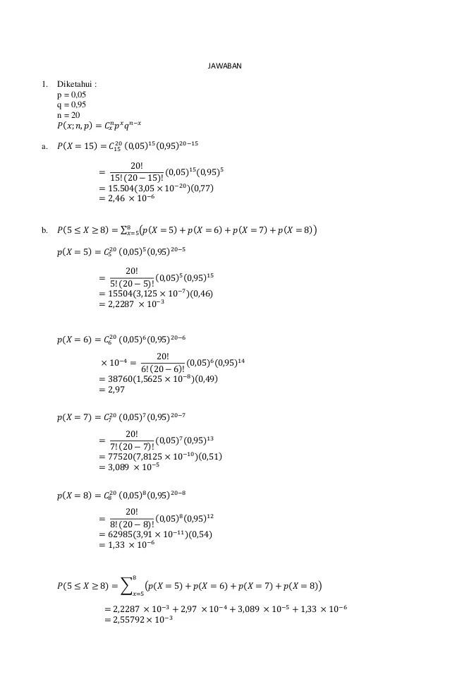 Soal lengkap ujian akhir semester (uas) statistika data sains. Contoh Soal Peluang Statistika Kuliah