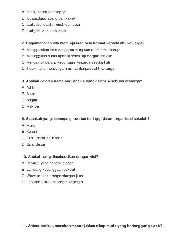 Soalan Sejarah Tahun 4 Ujian Bulanan 1 Cute766